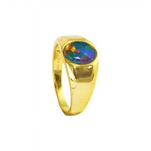 ELECTRIC CASTLE 18KT GOLD PLATED AUSTRALIAN BLACK OPAL MEN'S RING