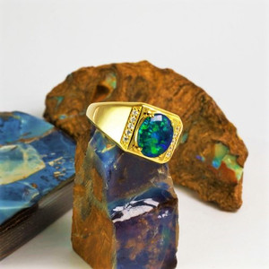 ILYA'S FOREST 18KT GOLD PLATED AUSTRALIAN BLACK OPAL MEN'S RING
