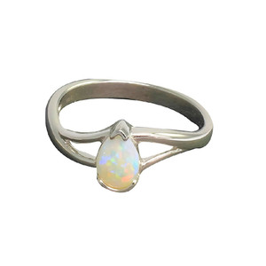 WHITE FOREST STERLING SILVER AUSTRALIAN WHITE OPAL RING