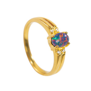 FANTASY ADVENTURE 18KT GOLD PLATED AUSTRALIAN BLACK OPAL RING (2)