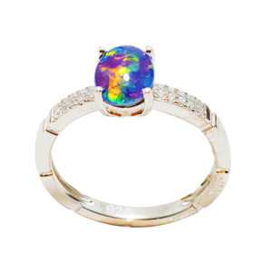 ABUNDANT CLARITY STERLING SILVER AUSTRALIAN BLACK OPAL RING