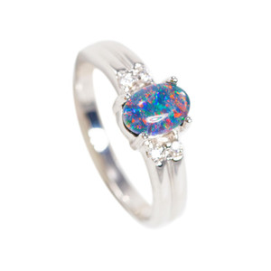 BRILLIANT FANTASY STERLING SILVER AUSTRALIAN BLACK OPAL RING (2)