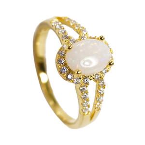 RADIANT LOVE 18KT GOLD PLATED AUSTRALIAN WHITE OPAL RING
