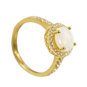 DOME GRACE 18KT GOLD PLATED AUSTRALIAN WHITE OPAL RING