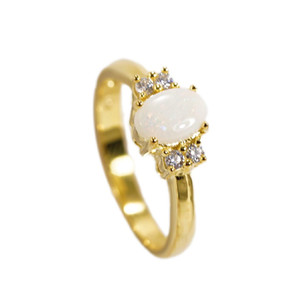 BINDING LOVE 18KT GOLD PLATED AUSTRALIAN WHITE OPAL RING