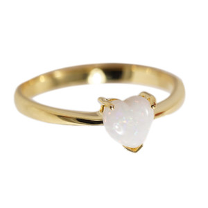 LOVE SHINE BRIGHT 18KT GOLD PLATED WHITE AUSTRALIAN OPAL RING