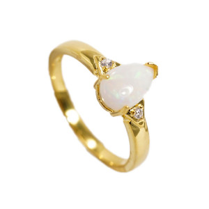 BREATHTAKING DROP 18KT GOLD PLATED AUSTRALIAN WHITE OPAL RING (2)