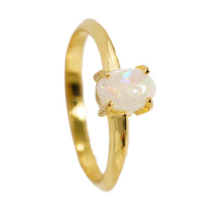 CAPTIVATING FLASH 18KT GOLD PLATED NATURAL AUSTRALIAN WHITE OPAL RING