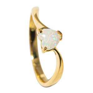 PETITE LOVE SHINE BRIGHT 18KT GOLD PLATED AUSTRALIAN WHITE OPAL RING