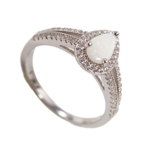 GEM BRIGHT STERLING SILVER NATURAL AUSTRALIAN WHITE OPAL RING