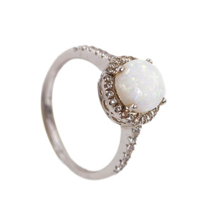 DOME GRACE STERLING SILVER NATURAL AUSTRALIAN WHITE OPAL RING