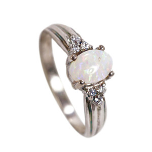 DELICATE LILI STERLING SILVER NATURAL AUSTRALIAN WHITE OPAL RING