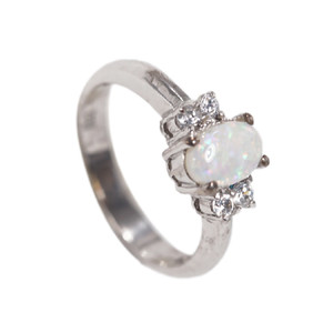 BINDING LOVE STERLING SILVER NATURAL AUSTRALIAN WHITE OPAL RING