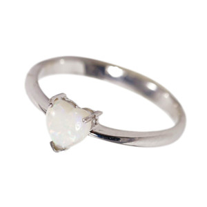 LOVE SHINE BRIGHT STERLING SILVER NATURAL AUSTRALIAN WHITE OPAL RING