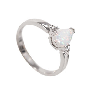 BREATHTAKING DROP STERLING SILVER NATURAL AUSTRALIAN WHITE OPAL RING
