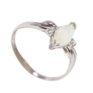 PETITE LOVE STERLING SILVER NATURAL AUSTRALIAN WHITE OPAL RING