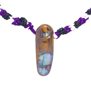 ELECTRIC FOREST NATURAL AUSTRALIAN SOLID BOULDER OPAL DRILLED NECKLACE