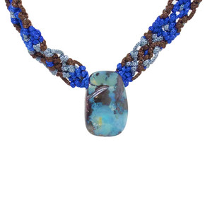 TROPICAL PARADISE  NATURAL AUSTRALIAN SOLID BOULDER OPAL DRILLED NECKLACE