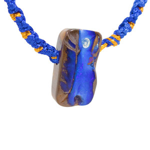 BLUE PARADE NATURAL AUSTRALIAN SOLID BOULDER OPAL DRILLED NECKLACE