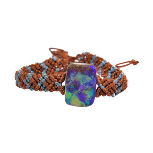 ELECTRIC HOLOGRAM NATURAL AUSTRALIAN SOLID BOULDER OPAL DRILLED BRACELET