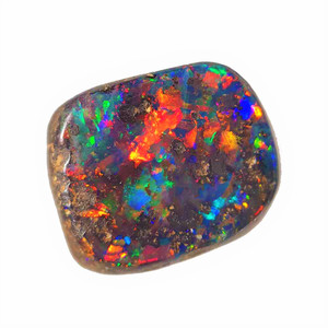 A RAINBOW BRIGHT NATURAL SOLID AUSTRALIAN BOULDER OPAL LOOSE STONE
