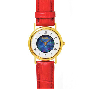 OPAL WATCH 18KT GOLD PLATED WITH GENUINE ROYAL RED LEATHER BAND (CIRCULAR 2)