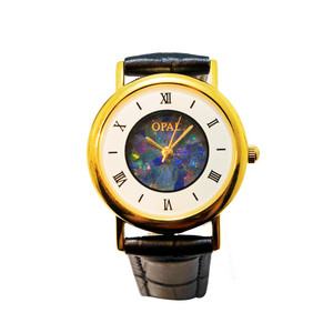 OPAL WATCH 18KT GOLD PLATED WITH GENUINE BLACK LEATHER BAND (CIRCULAR 2)
