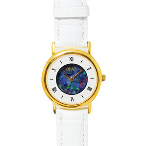 OPAL WATCH 18KT GOLD PLATED WITH WHITE GENUINE LEATHER BAND (CIRCULAR 2)