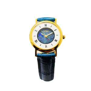 OPAL WATCH 18KT GOLD PLATED WITH GENUINE FRENCH BLUE LEATHER BAND (CIRCULAR 2)