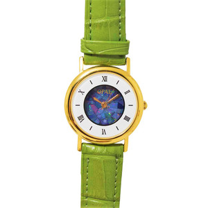 1 OPAL WATCH 18kt GOLD PLATED WITH PASTEL GREEN GENUINE LEATHER BAND (CIRCULAR 2)