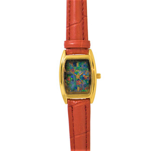 OPAL WATCH 18KT GOLD PLATED WITH GENUINE ROYAL RED LEATHER BAND