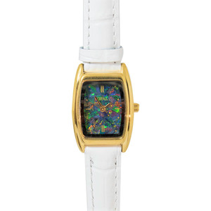 OPAL WATCH 18KT GOLD PLATED WITH GENUINE WHITE LEATHER BAND