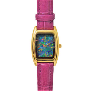 OPAL WATCH 18KT GOLD PLATED WITH GENUINE FUCHSIA LEATHER BAND