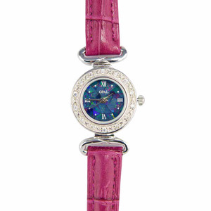 ABUNDANT RADIANCE WOMANS STERLING SLIVER OPAL WATCH WITH GENUINE FUCHSIA  LEATHER BAND