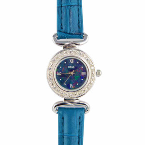 ABUNDANT RADIANCE WOMANS STERLING SLIVER OPAL WATCH WITH FRENCH BLUE GENUINE LEATHER BAND