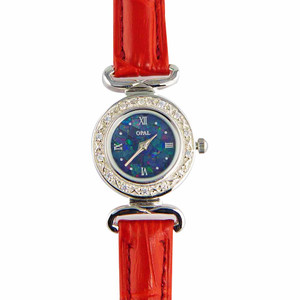 ABUNDANT RADIANCE WOMANS STERLING SLIVER OPAL WATCH WITH GENUINE ROYAL RED LEATHER BAND