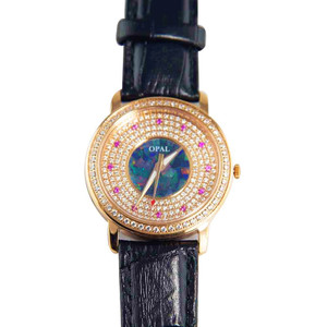 AMAZING ROSE 18KT ROSE GOLD PLATED AUSTRALIAN OPAL WATCH GENUINE LEATHER BAND (BLACK)