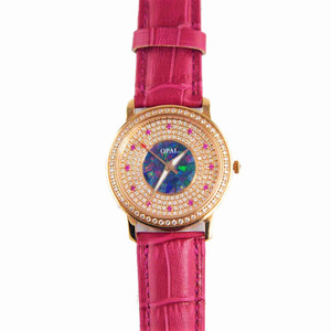 AMAZING ROSE 18KT ROSE GOLD PLATED AUSTRALIAN OPAL WATCH GENUINE LEATHER BAND (FRENCH PINK)