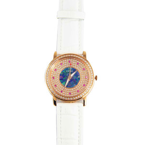 AMAZING ROSE 18KT ROSE GOLD PLATED AUSTRALIAN OPAL WATCH GENUINE LEATHER BAND (WHITE)