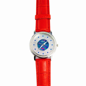 AMAZING GRACE AUSTRALIAN OPAL WATCH & GENUINE LEATHER RED BAND