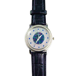 AMAZING GRACE AUSTRALIAN OPAL WATCH & GENUINE LEATHER BLACK BAND