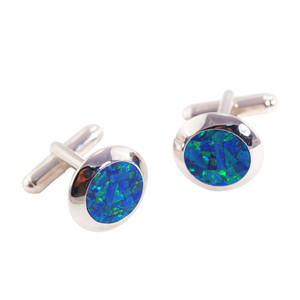 ELECTRIC OCEAN ABYSS STERLING SILVER AUSTRALIAN OPAL CUFF LINKS