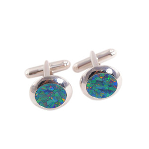 ELECTRIC GALAXY STERLING SILVER NATURAL AUSTRALIAN OPAL CUFF LINKS