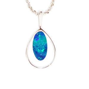 EARTH'S HALO STERLING SILVER GENUINE AUSTRALIAN OPAL NECKLACE