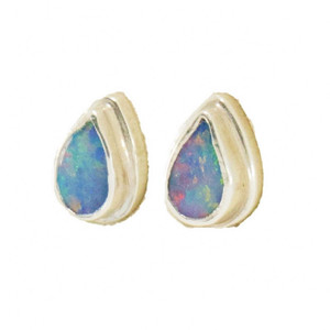 COTTON CANDY STERLING SILVER GENUINE AUSTRALIAN OPAL STUD EARRINGS