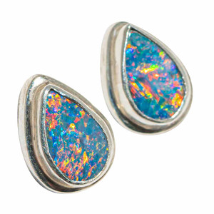 CANDY LAND STERLING SILVER GENUINE AUSTRALIAN OPAL STUD EARRINGS