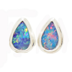 ALLURING PASSION STERLING SILVER GENUINE AUSTRALIAN OPAL STUD EARRINGS