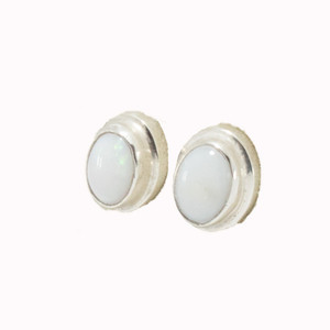 BRIGHT POWDER SURPRISE STERLING SILVER NATURAL AUSTRALIAN WHITE OPAL STUD EARRINGS