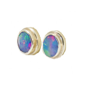 A RAINBOW BLAST SUNRISE STERLING SILVER GENUINE AUSTRALIAN OPAL STUD EARRINGS