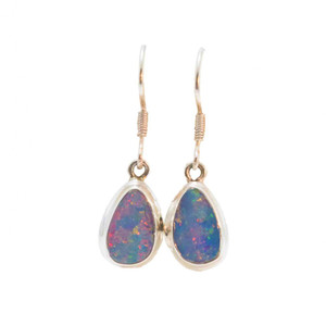BRILLIANT RED RAINBOW FLASH STERLING SILVER GENUINE AUSTRALIAN OPAL DROP EARRINGS